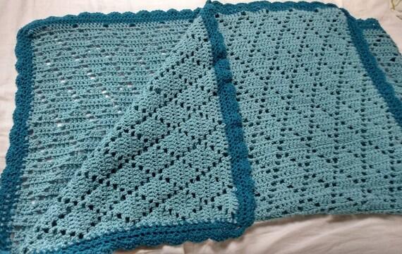 Diamant-Muster Baby/Runde Filet häkeln Decke im Sturm blau | Etsy