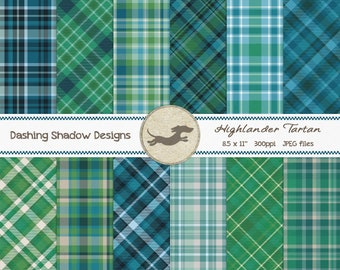 Digital Printable Scrapbook Craft Paper Camp Ground 12 x 12 Neutral Brown Green Khaki Owls Nature Leaves Plaid PUCU Commercial Use