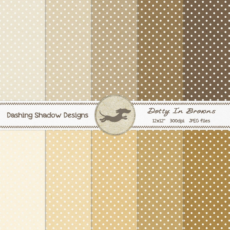 graphic about Dotty Paper Printable referred to as Electronic Printable Sbook Craft Paper - Dotty in just Brown Colors - Polka Dots Areas Beige Tan Product - 12 x 12\