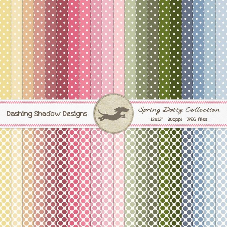 photo regarding Dotty Paper Printable referred to as Electronic Printable Sbook Craft Paper - Spring Dotty Variety - Seamless Polka Dots Pastel Crimson Blue - 12 x 12\