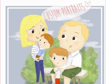 Custom portrait- friends,family, couple, valentine, wedding portrait