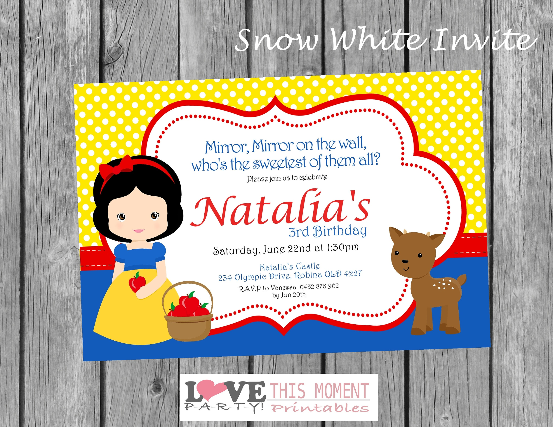 Snow White Party Invitation Snow White Birthday Invitation Snow White Invitation Love This Moment Party