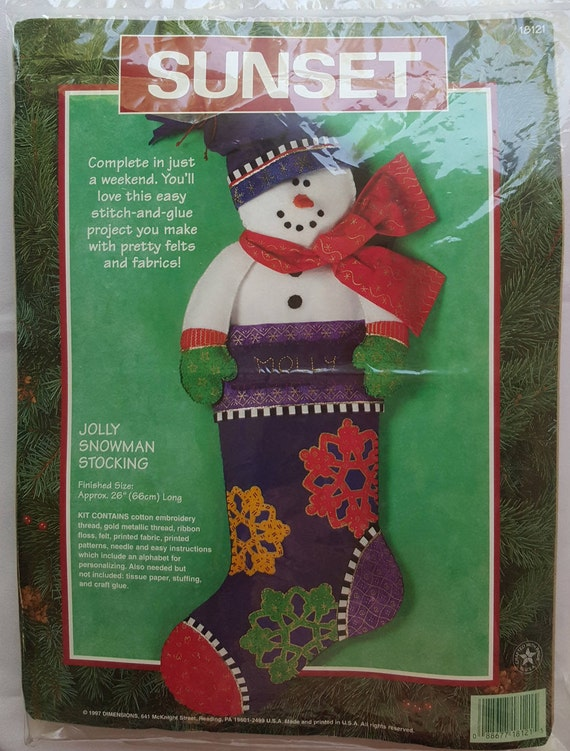 Dimensions Christmas Stocking Kits.Vintage Dimensions Christmas Sunset Stocking Kits 18121 Jolly Snowman Stocking Finished Size Approx 26 Long Holiday Stockings Door Decor
