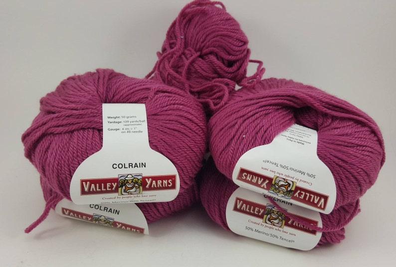 Colrain Valley Yarn 109 Yards Worsted Weight Yarn Tencel Yarn Burgundy Yarn 1.7 ozs Peru Yarn Merino Yarn Mauve Yarn