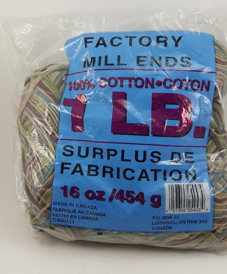 Factory Mill Ends Yarn, 100% Cotton Yarn, Multicolor Yarn, Variegated Yarn,  Tea Cozy Yarn, Dish Cloth Yarn Worsted Weight, 4 Ply