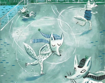 White foxes on ice. A giclee print of an original illustration.