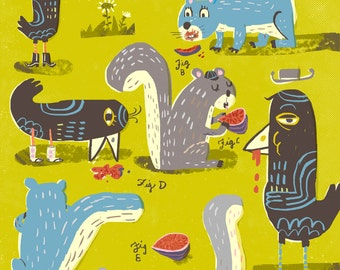 The suburbanites. A giclee print of an original illustration.