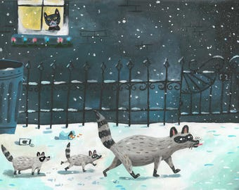 Snowflakes. A limited edition giclee print of an original illustration.