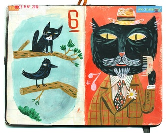 Don't even think it/Lord Whiskers. A  limited edition giclee print of an original illustration sketchbook.