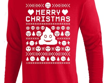 Emoji poop UGLY CHRISTMAS Sweater funny T shirt, Long Sleeve,Tank And More. Men,Women And Kids Sizes