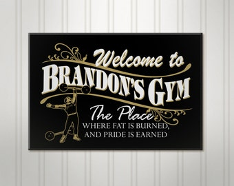 Workout room sign etsy