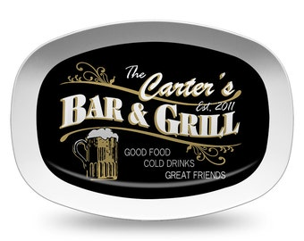 Personalized Melamine Bar Platter, Personalized Serving Platter, Bar & Grill Platter, Personalized Serving Tray, Mancave, Bar Decor