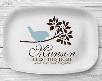 Personalized Blue Bird Platter, Melamine Serving Platter, Bird Personalized Serving Tray, Personalized Tray, Custom Tablew