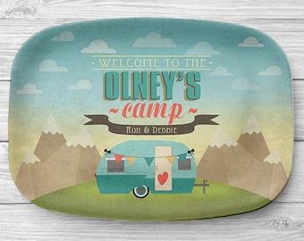 Personalized RV Trailer Platter, Personalized Melamine Camper Serving Platter, Personalized Serving Tray, Camping Decor, RV Decor