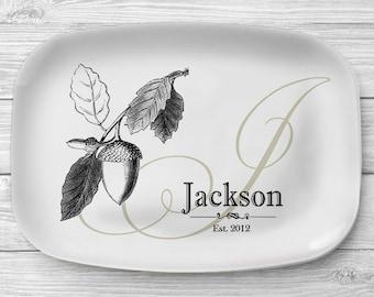 Melamine Acorn Platter, Personalized Fall Acorn Serving Platter, Monogrammed Melamine Platter, Personalized Serving Tray, Kitchen Decor