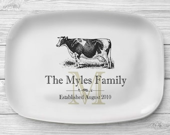 Melamine Cow Platter, Personalized Black and White Cow Serving Platter, Melamine Platter, Personalized Serving Tray, Dairy Farm Decor