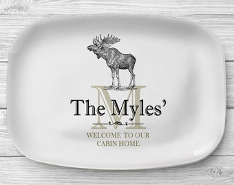 Personalized Moose Platter, Melamine Serving Platter, Cabin Home Personalized Serving Tray, Personalized Monogrammed Tray, Cabin Decor