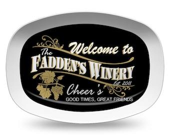 Personalized Winery Platter, Personalized Melamine Serving Platter, Wine Platter, Personalized Serving Tray, Bar Decor