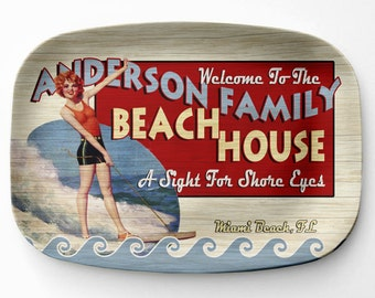 Beach House Platter, Personalized Beach Home Serving Platter, Melamine Platter, Personalized Serving Tray