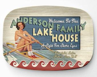 Lake House Platter, Personalized Lake Home Serving Platter, Melamine Platter, Personalized Serving Tray, Cabin Decor