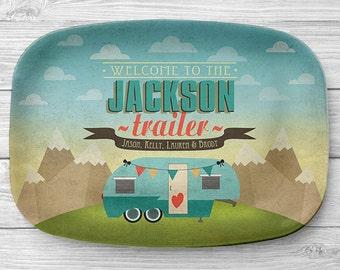 Personalized Fifth Wheel Platter, Personalized Melamine Camper Serving Platter, RV Trailer Platter, Personalized Serving Tray, Camping Decor