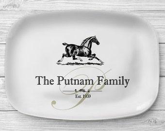 Personalized Horse Platter, Melamine Serving Platter, Melamine Platter, Personalized Serving Tray, Horse Ranch Decor