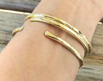 Heavily Hammered Jewelers Brass Stacking Bangle Bracelets, Create Your Set