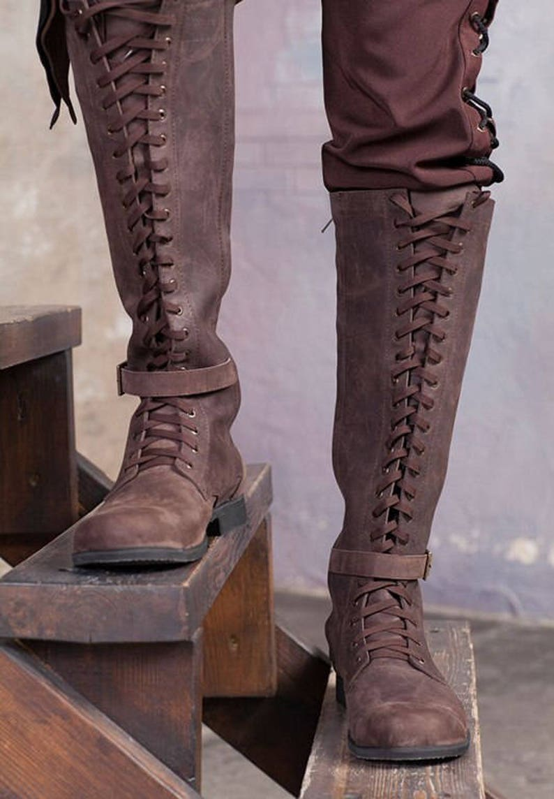 Knee high mens boots / Lace up medieval leather boots / image 1