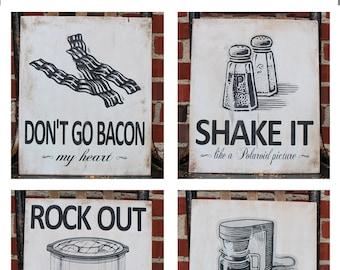 Kitchen Pun Wood Sign - Set of 2 - Baking Puns, Cooking Puns, Food Puns, Appliance Puns Kitchen Wooden Signs