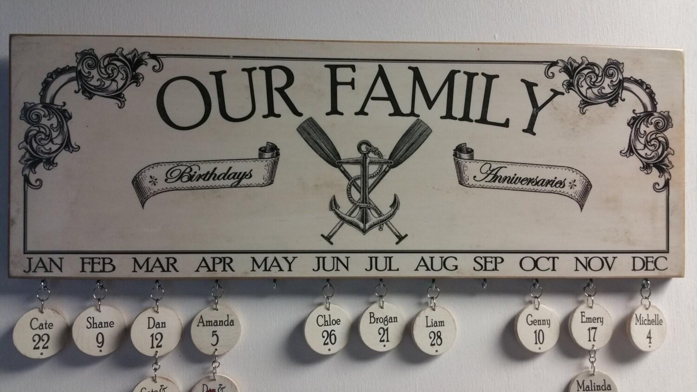 Anker und Ruder Familie Geburtstag Board Kalender | Etsy