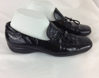 f4bb9c026ab Vintage PRADA Black Patent Leather Women Loafer with Drawstring Accent!