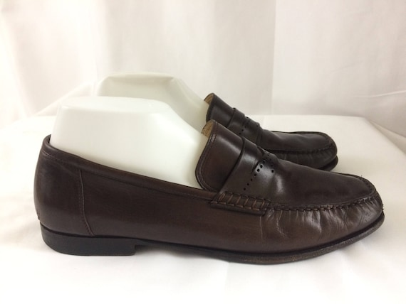 Vintage Santoni Men Brown Penny Loafers