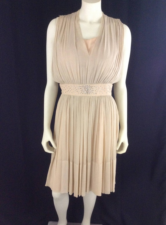Vintage  1980s Peachy Beige Silk Cocktail Dress wi