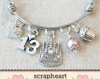 13th BIRTHDAY GIRL Birthday Charm Bracelet Teenage Daughter Gift Idea Girls Thirteenth 13 Year Old Teen Girl