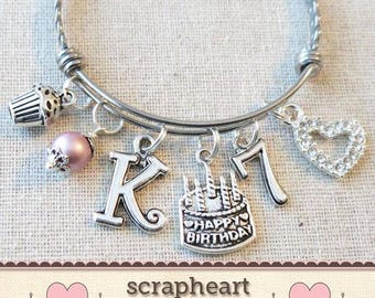 7th BIRTHDAY GIRL Birthday Charm Bracelet 7 Year Old Daughter Gift Idea Girls Seventh Gift7 Girl