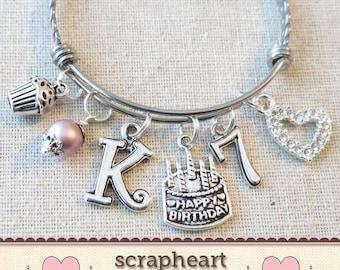 7th BIRTHDAY GIRL Birthday Charm Bracelet 7 Year Old Daughter Gift Idea Girls Seventh Gift7 Girl