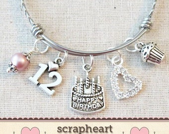 12th BIRTHDAY GIRL Birthday Charm Bracelet Granddaughter Daughter Gift Idea Girls Twelfth 12 Year Old Girl