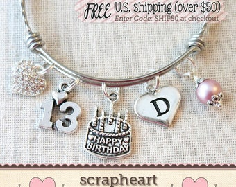 13th BIRTHDAY Charm Bracelet Happy 11th 12th Birthday Teenage Daughter Gift Ideas Gifts For Girls13 Year Old Girl
