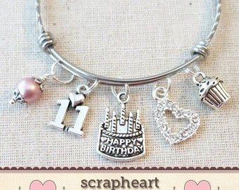 11th BIRTHDAY GIRL Birthday Charm Bracelet Granddaughter Daughter Gift Idea Girls Eleventh 11 Year Old Girl