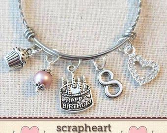 6th BIRTHDAY GIRL BRACELET Birthday Charm Bracelet 6 Year Old Daughter Gift Idea Girls Sixth Girl
