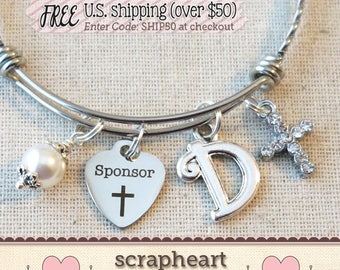 CONFIRMATION SPONSOR Thank You Gift, Personalized Catholic Confirmation Sponsor Bracelet, Confirmation Sponsor Gift, Catholic Mentor Gifts