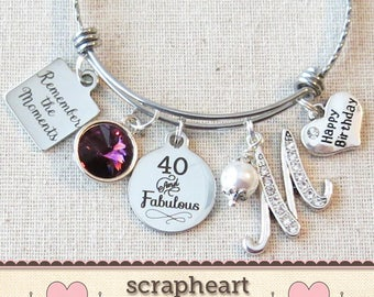 40th BIRTHDAY Gift For Her Milestone Birthday Gifts Women 40 And Fabulous Bracelet Remember The Moments Bangle Friend