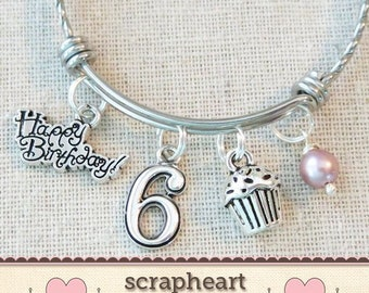 6th BIRTHDAY GIRL Birthday Charm Bracelet 6 Year Old Daughter Gift Idea Girls Sixth Girl