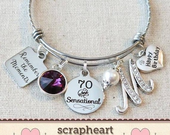 70th BIRTHDAY Gift Milestone Birthday Gifts For Her Best Friend Bracelet Remember The Moments Bangle 70 And Sensational
