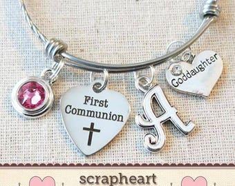 FIRST COMMUNION Gift for Goddaughter, Little Girl's First Communion Gift, Goddaughter 1st Communion Gift, 1st Communion Charm Pearl Bracelet