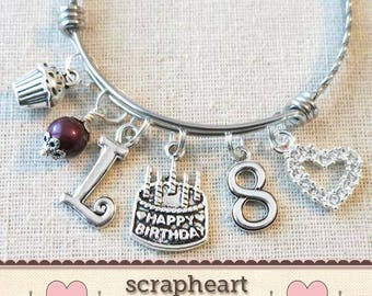 8th BIRTHDAY GIRL Birthday Charm Bracelet 8 Year Old Daughter Gift Idea Girls Eighth Girl