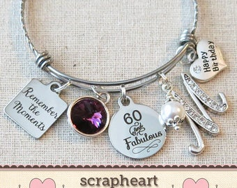 60th BIRTHDAY Gift For Her Milestone Birthday Gifts Women 60 And Fabulous Bracelet Remember The Moments Bangle Friend