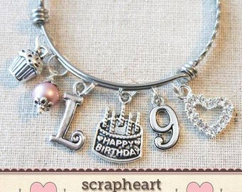 9th BIRTHDAY GIRL Birthday Charm Bracelet 9 Year Old Daughter Gift Idea Girls Ninth Girl