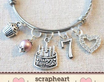 7th BIRTHDAY GIRL Girls Seventh Birthday Gift7th Charm Bracelet 7 Year Old Daughter Gift Idea Girl
