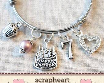 7th BIRTHDAY GIRL Girls Seventh Birthday Gift7th Charm Bracelet 7 Year Old Daughter Gift Idea Girl
